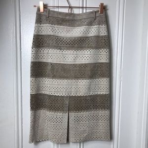 NWT BCBG 100% leather pencil skirt suede taupe tan